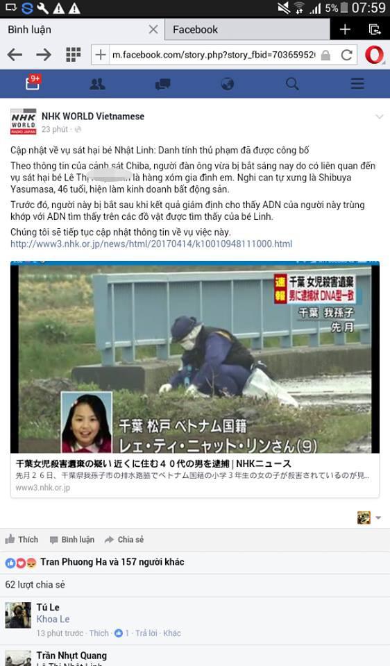 Trang facebook của NHK thông tin về vụ việc