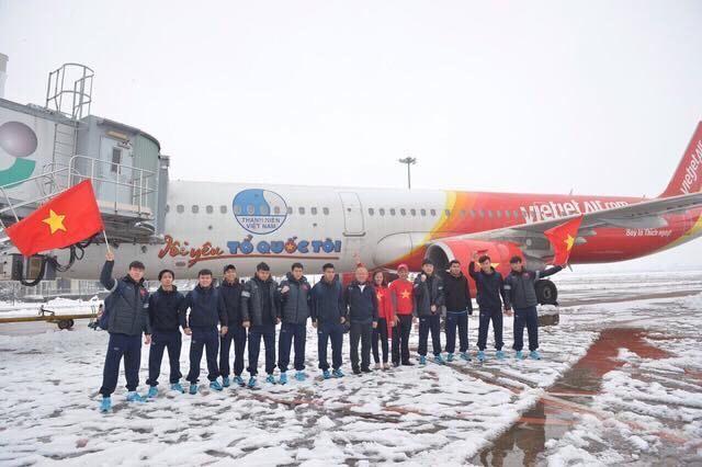 Chuyên cơ đón U23 Việt Nam tại Thường Châu, Trung Quốc