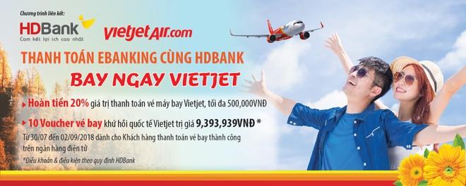 Thanh toán Ebanking HDBank - Bay ngay cùng Vietjet