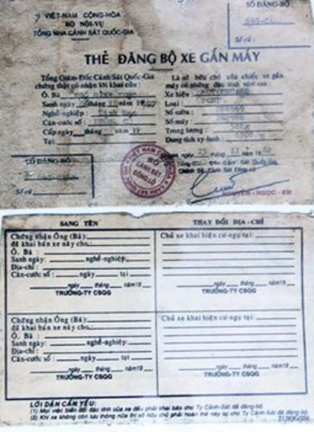 Ngỡ ngàng giấy đăng ký xe máy to bằng 2 bàn tay, mua xăng bằng phiếu ảnh 1
