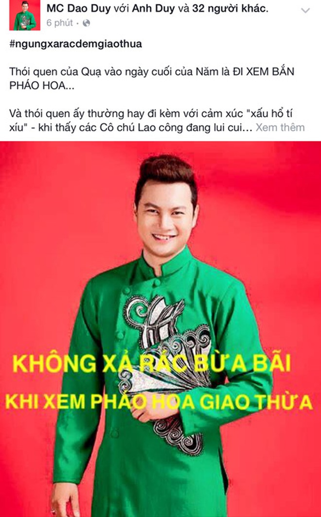 """Nghệ sĩ Việt kêu gọi """"Ngưng xả rác đêm Giao thừa"""" ảnh 7"""
