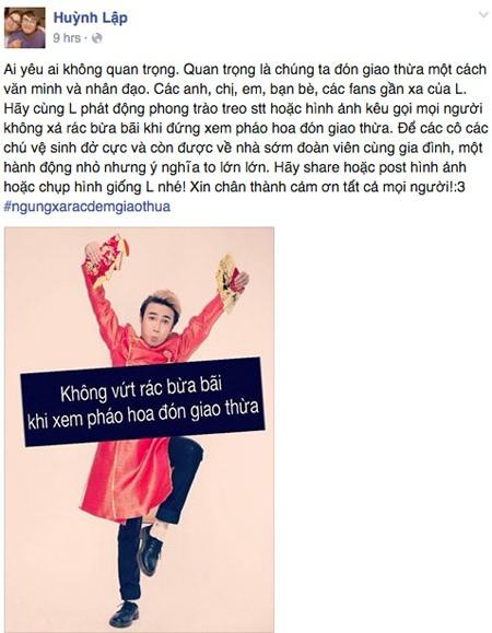 """Nghệ sĩ Việt kêu gọi """"Ngưng xả rác đêm Giao thừa"""" ảnh 1"""