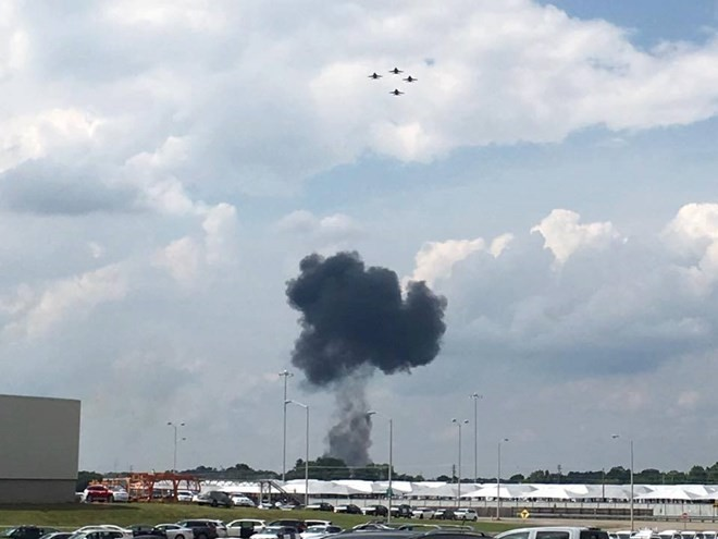 F-16 gặp nạn. (Nguồn: CNN)