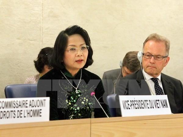 Phó Chủ tịch nước Đặng Thị Ngọc Thịnh phát biểu tại khóa họp thứ 32 Hội đồng Nhân quyền Liên hợp quốc. (Ảnh: TTXVN)