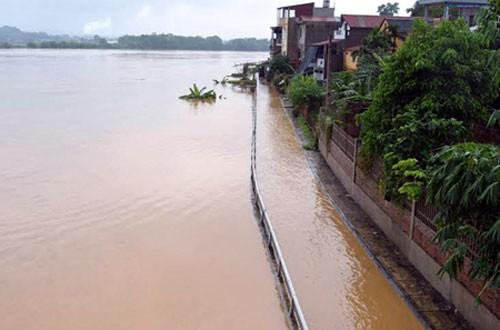 Mưa lớn khiến mực nước trên sông Thao tại Yên Bái dâng cao (Ảnh: VNE)