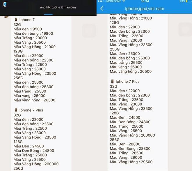Bảng giá iPhone 7 và 7 Plus