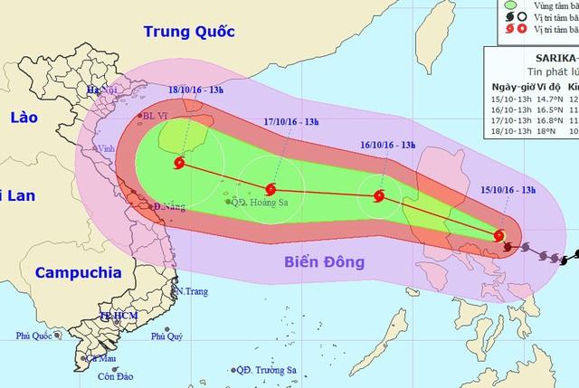 Vị trí và hướng di chuyển của bão Sarika (Ảnh: NCHMF)