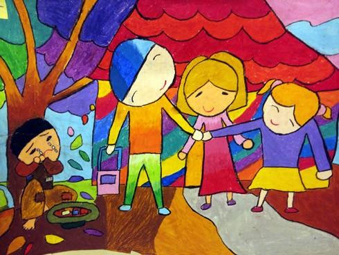 """Tác phẩm """"Em ước được như bạn ấy"""" của tác giả Phùng Đức Tiến. Bức tranh vẽ về em nhỏ đang độ tuổi vui chơi, ăn học nhưng lại bị lợi dụng sức lao động và buộc phải đi ăn xin cho nhóm người xấu"""