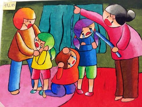 """Tác phẩm """"Xin đừng mắng con"""" của tác giả Vũ Minh Thư. Qua bức tranh, tác giả mong muốn trẻ em không còn bị bạo lực và được tạo điều kiện để các em được giáo dục và phát triển"""