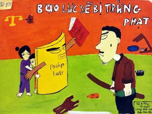 """Tác phẩm """"Bạo lực sẽ bị trừng phạt"""" của tác giả Vừ A Thu - Làng trẻ em SOS Điện Biên"""
