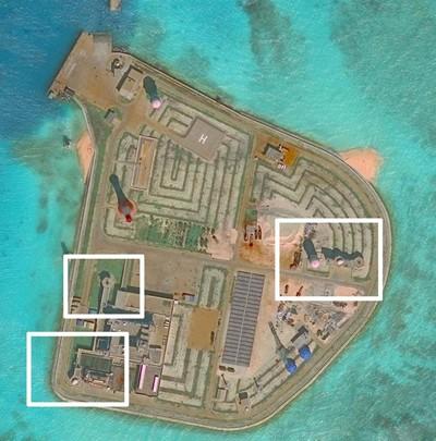 Những vị trí được cho là cụm vũ khí phi pháp của Trung Quốc trên đá Gạc Ma (Ảnh:Reuters)