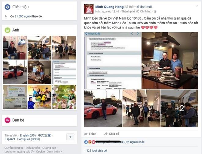 Dòng trạng thái được đăng công khai của Minh béo, không có một chút mảy may hối lỗi, nhận được tới gần 10.000 lượt like