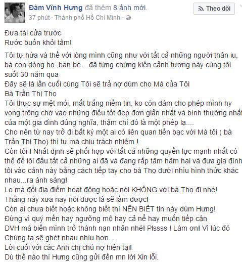 Chia sẻ của Đàm Vĩnh Hưng trên trang mạng xã hội cá nhân