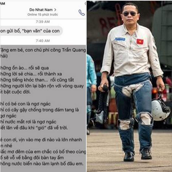 Bài thơ do Đỗ Nhật Nam viết tặng con gái liệt sĩ phi công Trần Quang Khải
