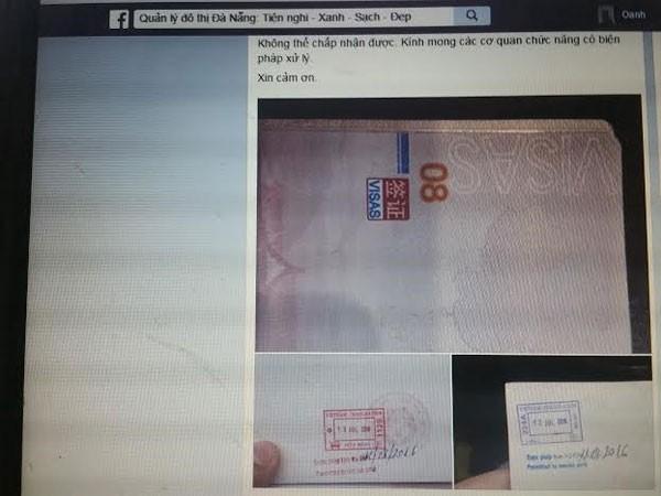 Thông tin giấy thị thực nhập cảnh của khách Trung Quốc được một chủ tài khoản Facebook đăng tải. Ảnh: