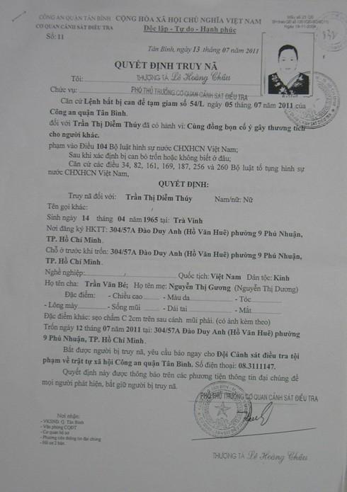 Quyết định truy nã Trần Thị Thúy Diễm (Ảnh: Soha)
