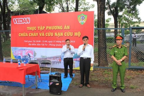 Ông Ko Chung Chih – Phó TGĐ Cty Vedan Việt Nam phát biểu tại buổi diễn tập.