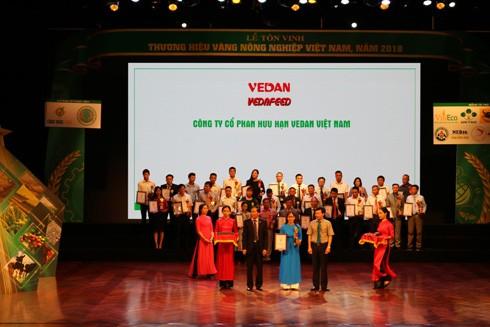 Vedan nhiều năm liền đạt giải thưởng Thương hiệu vàng nông nghiệp Việt Nam
