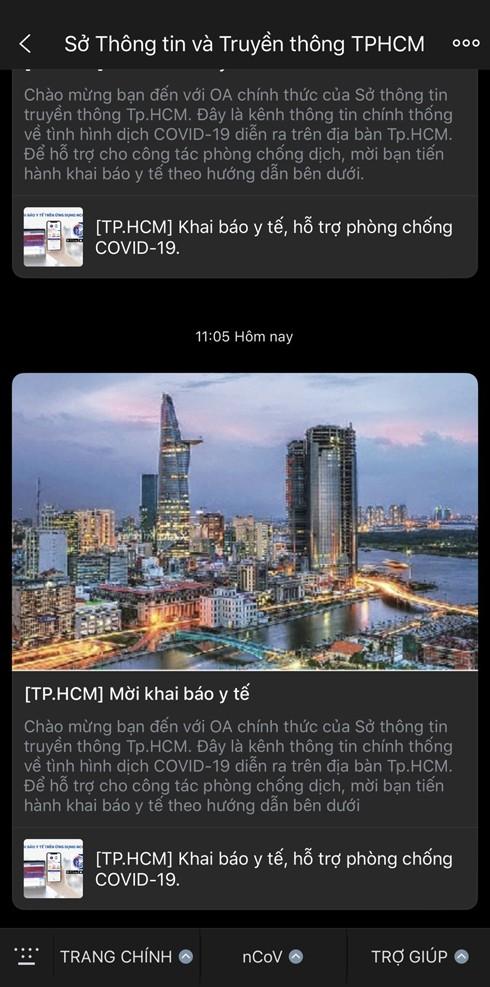 Người dân TPHCM có thể theo dõi thông tin chính thống về Covid-19 trên Zalo của Sở Thông tin và Truyền thông