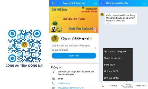 Quét mã QR để sử dụng nhiều tính năng tại Zalo Công an tỉnh Đồng Nai