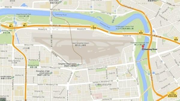 Vị trí máy bay rơi (điểm đỏ) nằm gần sân bay