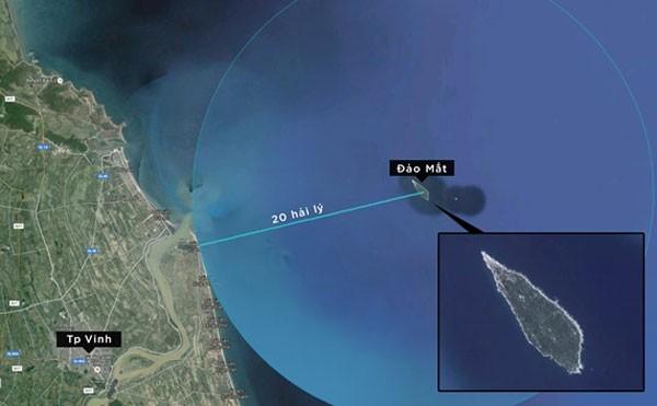 Vị trí đảo Mắt, nơi máy bay Su-30MK2 số hiệu 8585 mất tín hiệu liên lạc (Ảnh: Zing)