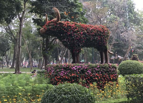 """12 con giáp """"khủng"""" trong công viên Thống Nhất ra hoa rực rỡ ảnh 6"""