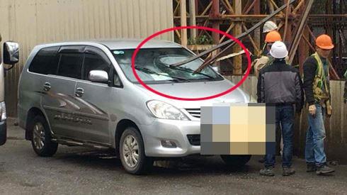 """Thực hư thông tin """"xe Innova bị thanh sắt công trường đường sắt Nhổn - Ga Hà Nội đâm thủng kính lái"""" ảnh 1"""