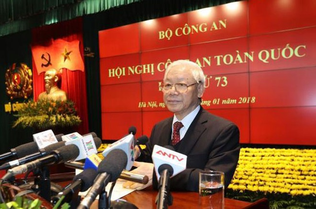 Tổng Bí thư Nguyễn Phú Trọng phát biểu chỉ đạo tại Hội nghị Công an toàn quốc lần thứ 73 (Ảnh: TTXVN)