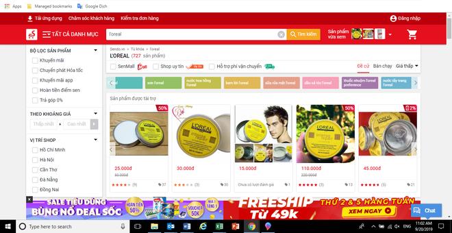 Hình ảnh wax vuốt tóc giả mang tên L'Oréal được rao bán công khai trên website thương mại điện tử Sendo.vn.