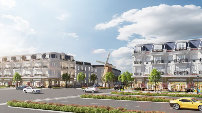 Phối cảnh dãy nhà phố liên kế thương mại tại Kỳ Co Gateway