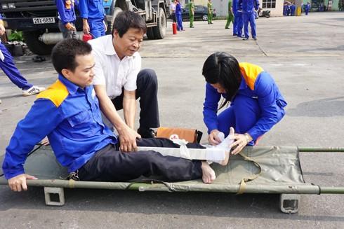 Công tác y tế tại chỗ cũng luôn được thực tập nâng cao kỹ năng