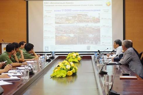 Quang cảnh buổi làm việc giữa đoàn công tác Liên bang Nga với CATP Hà Nội