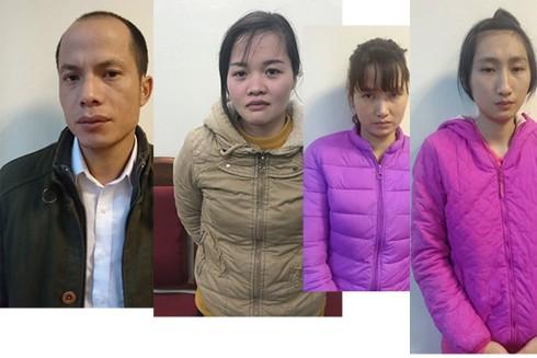 Các đối tượng liên quan bị công an bắt giữ