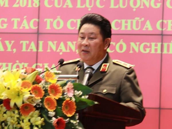 Thứ trưởng Bùi Văn Thành phát biểu chỉ đạo tại Hội nghị rút kinh nghiệm công tác tổ chức chữa cháy, CNCH