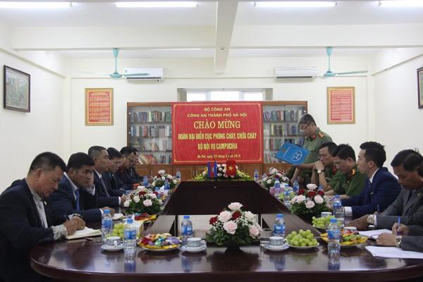 Lực lượng Cảnh sát PCCC và CNCH - CATP Hà Nội tiếp đón Đoàn Đại biểu Cục PCCC - Bộ Nội vụ Campuchia sang thăm và làm việc