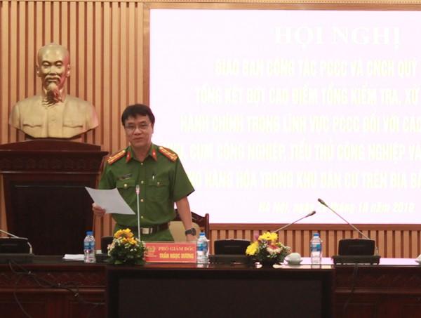 Đại tá Trần Ngọc Dương, Phó Giám đốc CATP Hà Nội phát biểu chỉ đạo tại hội nghị