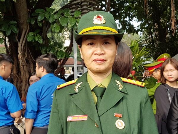 Trung úy Nguyễn Thị Thanh Huyền, nguyên cán bộ Bộ tư lệnh Công binh, cán bộ Hội hỗ trợ các gia đình Liệt sỹ Việt Nam