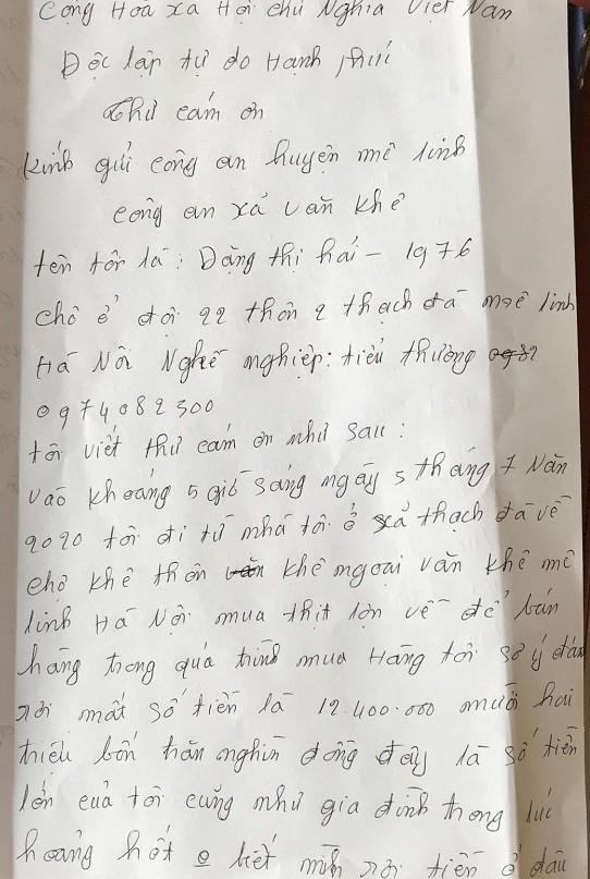 Lá thư chị Hải viết cảm ơn Công an xã Văn Khê về tinh thần, trách nhiệm của các chiến sỹ Công an xã