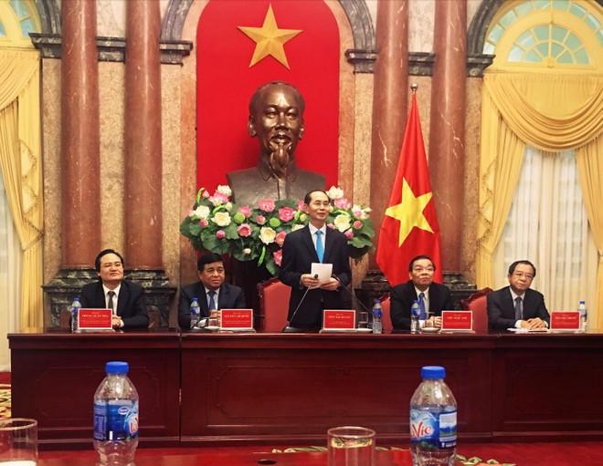 Chủ tịch nước Trần Đại Quang phát biểu tại buổi gặp mặt 100 nhà khoa học, công nghệ, doanh nhân người Việt trên khắp thế giới