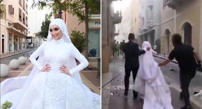 [Video] Cô dâu Beirut trong khoảnh khắc xảy ra vụ nổ kinh hoàng