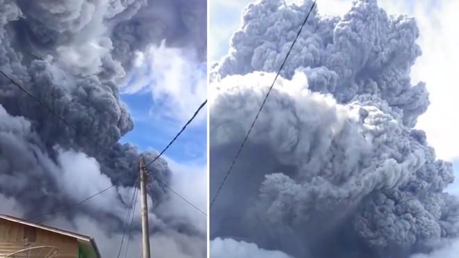 [Video] Giữa ban ngày, bầu trời ở đảo Sumatra đen đặc vì tro bụi núi lửa ảnh 1