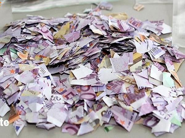 Những đồng tiền euro bị cắt vụn