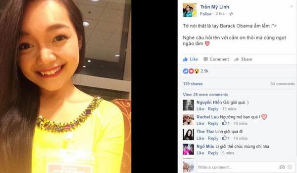 Chia sẻ của Trần Mỹ Linh sau khi có vinh dự tặng hoa chào mừng Tổng thống Mỹ Obama.