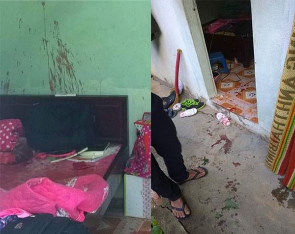 Phòng trọ nơi xảy ra vụ án vụ có nhiều vết máu.