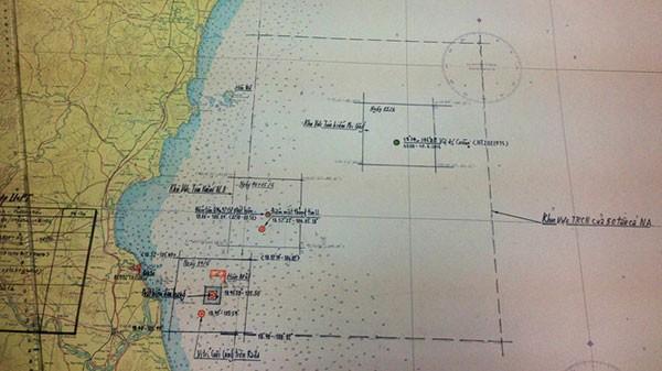 Hải đồ vùng tìm kiếm được mở rộng để tìm phi công và máy bay Su - 30MK2 mất tích.