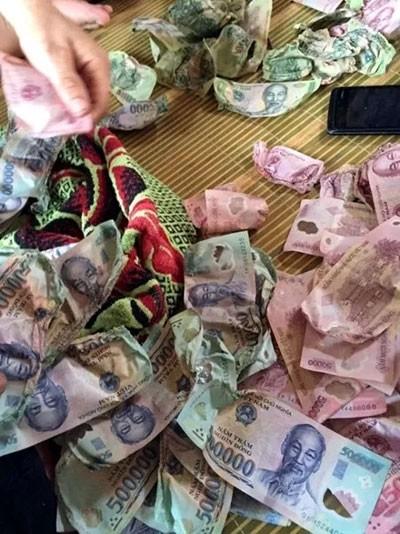 Số tiền bị hỏng của gia đình anh Hậu được ngân hàng đổi lại.