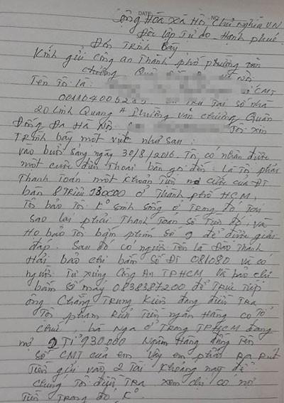 Đơn trình báo của 1 nạn nhân gửi đến CAQ Đống Đa, Hà Nội.
