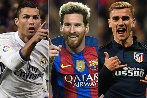 Ronaldo-Messi-Griezmann là 3 cái tên nhận Quả bóng vàng, bạc, đồng.