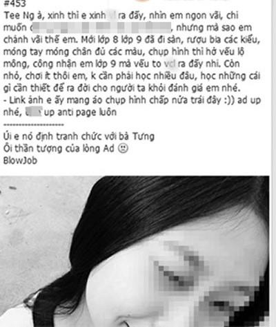 Hình ảnh nữ sinh N, bị nói xấu trên mạng xã hội.